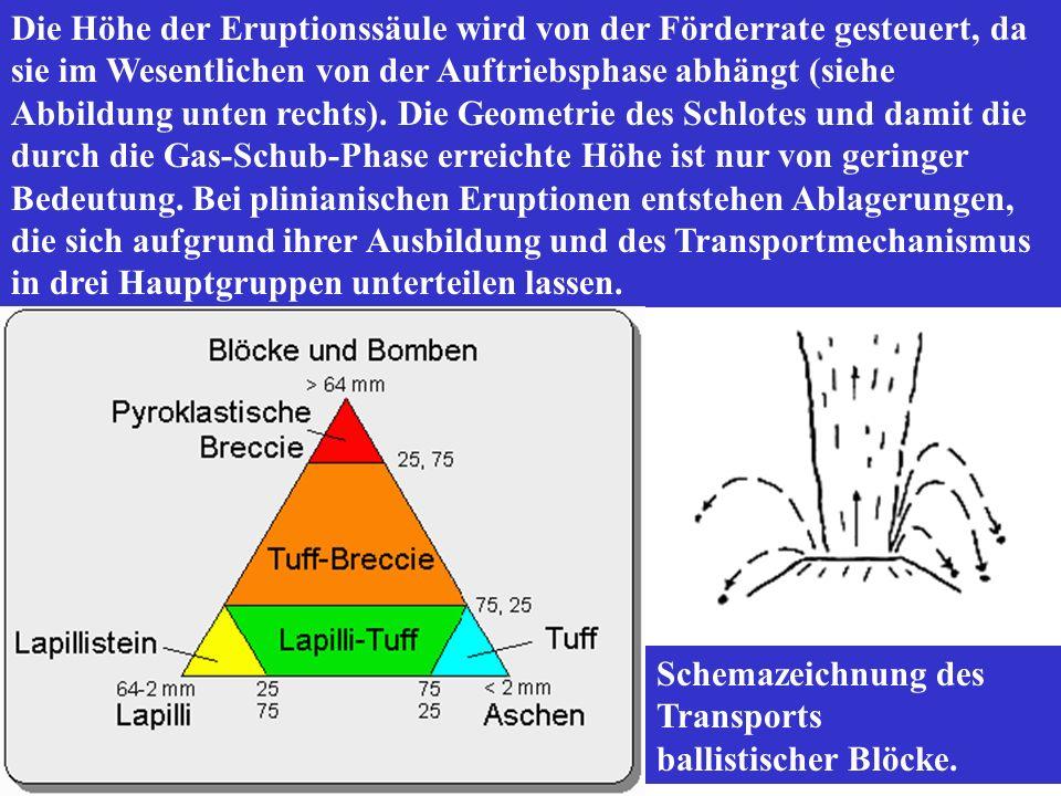 Die Höhe der Eruptionssäule wird von der Förderrate gesteuert, da sie im Wesentlichen von der Auftriebsphase abhängt (siehe Abbildung unten rechts). Die Geometrie des Schlotes und damit die durch die Gas-Schub-Phase erreichte Höhe ist nur von geringer Bedeutung. Bei plinianischen Eruptionen entstehen Ablagerungen, die sich aufgrund ihrer Ausbildung und des Transportmechanismus in drei Hauptgruppen unterteilen lassen.