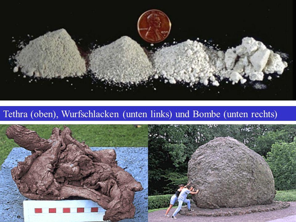 Tethra (oben), Wurfschlacken (unten links) und Bombe (unten rechts)