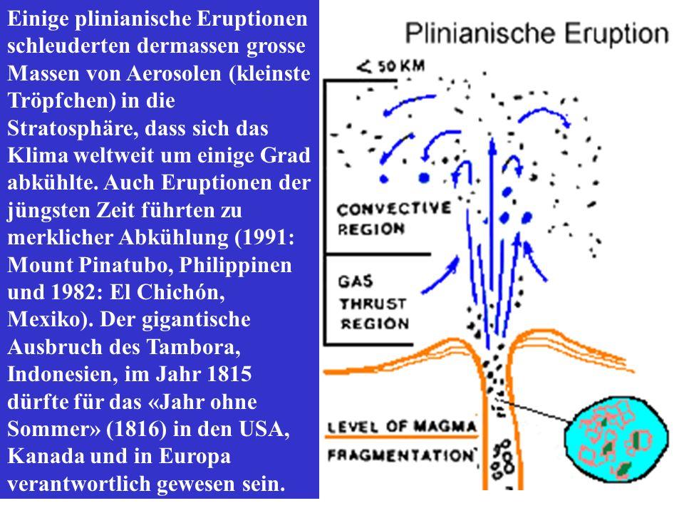 Einige plinianische Eruptionen schleuderten dermassen grosse Massen von Aerosolen (kleinste Tröpfchen) in die Stratosphäre, dass sich das Klima weltweit um einige Grad abkühlte.