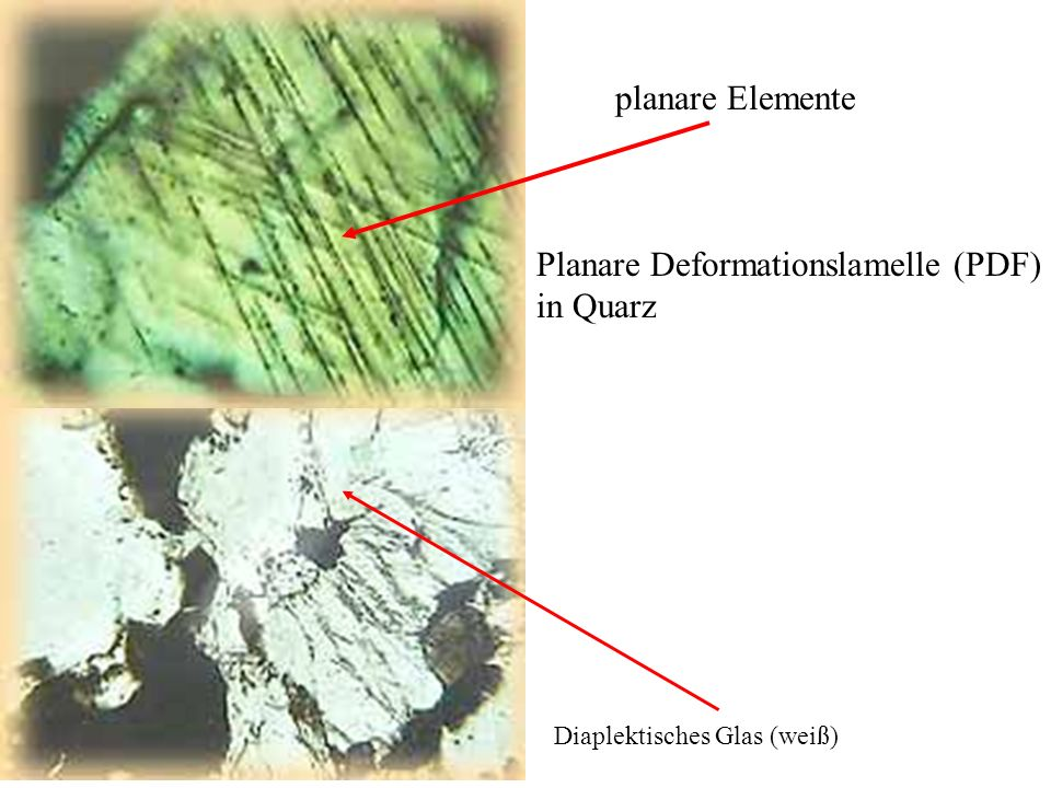 Planare Deformationslamelle (PDF) in Quarz