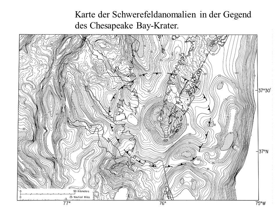 Karte der Schwerefeldanomalien in der Gegend