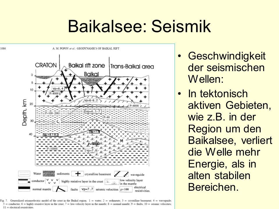 Baikalsee: Seismik Geschwindigkeit der seismischen Wellen: