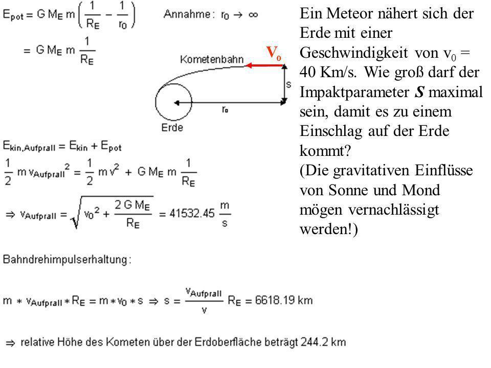 Ein Meteor nähert sich der Erde mit einer Geschwindigkeit von v0 = 40 Km/s. Wie groß darf der Impaktparameter S maximal sein, damit es zu einem Einschlag auf der Erde kommt