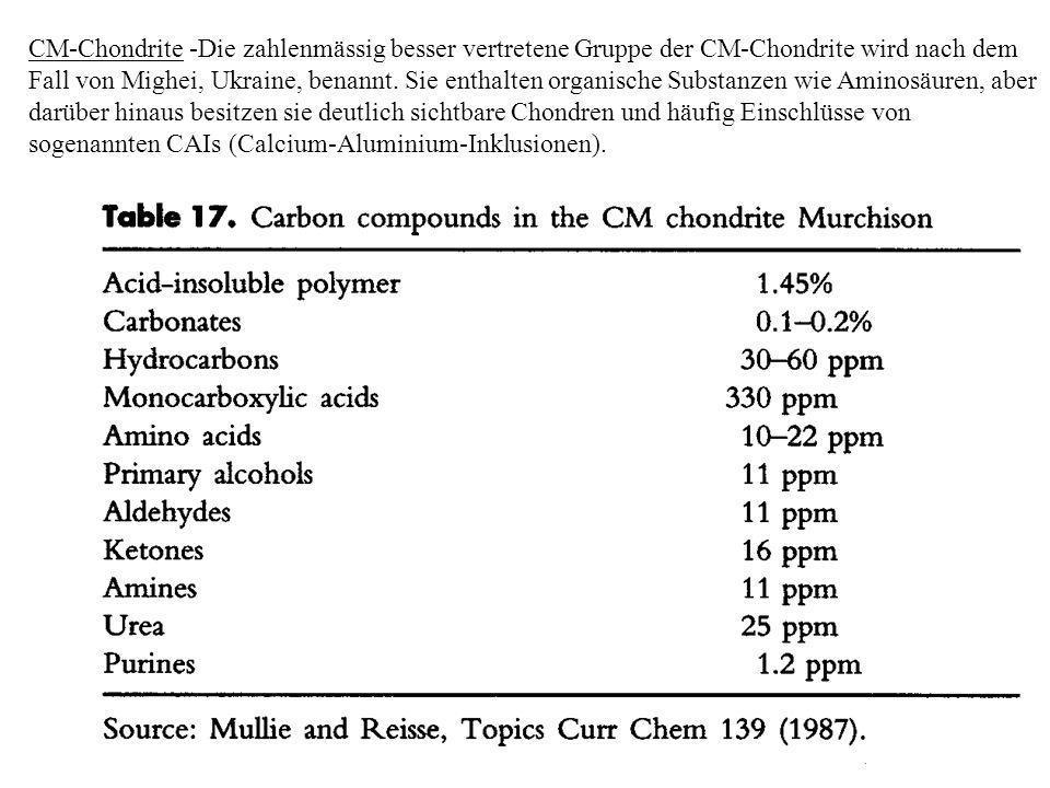CM-Chondrite -Die zahlenmässig besser vertretene Gruppe der CM-Chondrite wird nach dem Fall von Mighei, Ukraine, benannt.