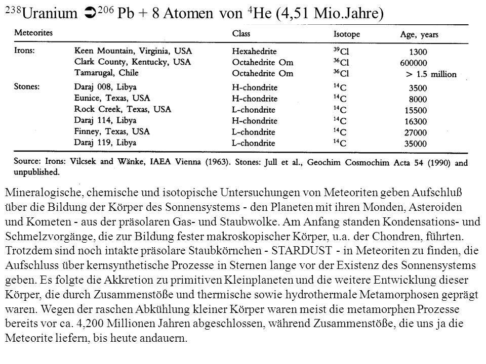 238Uranium 206 Pb + 8 Atomen von 4He (4,51 Mio.Jahre)