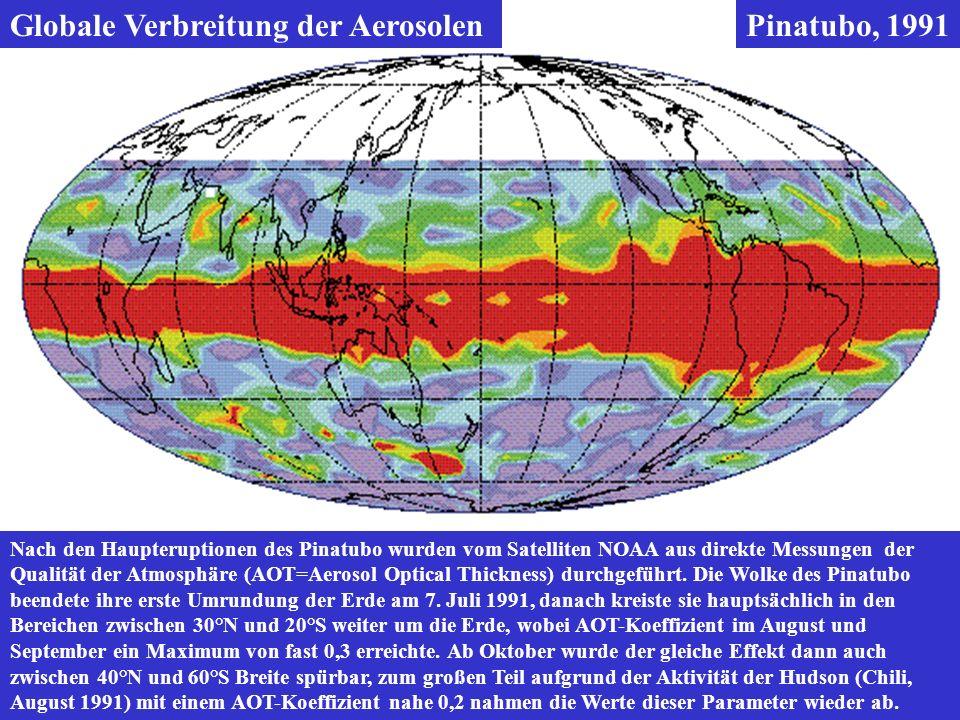Globale Verbreitung der Aerosolen Pinatubo, 1991