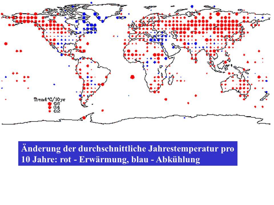 Änderung der durchschnittliche Jahrestemperatur pro 10 Jahre: rot - Erwärmung, blau - Abkühlung