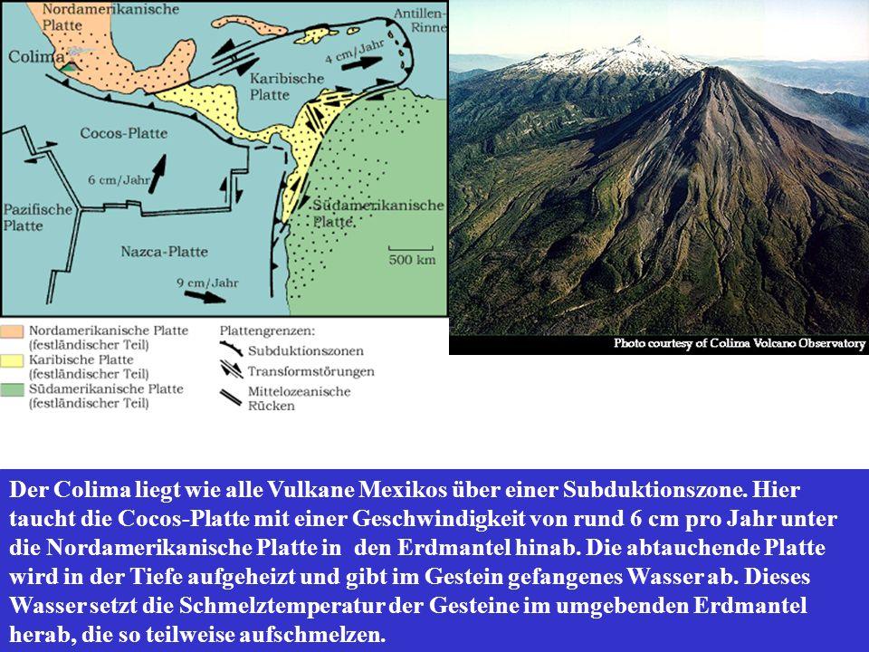 Der Colima liegt wie alle Vulkane Mexikos über einer Subduktionszone