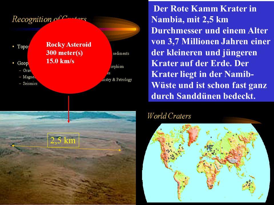 Der Rote Kamm Krater in Nambia, mit 2,5 km Durchmesser und einem Alter von 3,7 Millionen Jahren einer der kleineren und jüngeren Krater auf der Erde. Der Krater liegt in der Namib-Wüste und ist schon fast ganz durch Sanddünen bedeckt.