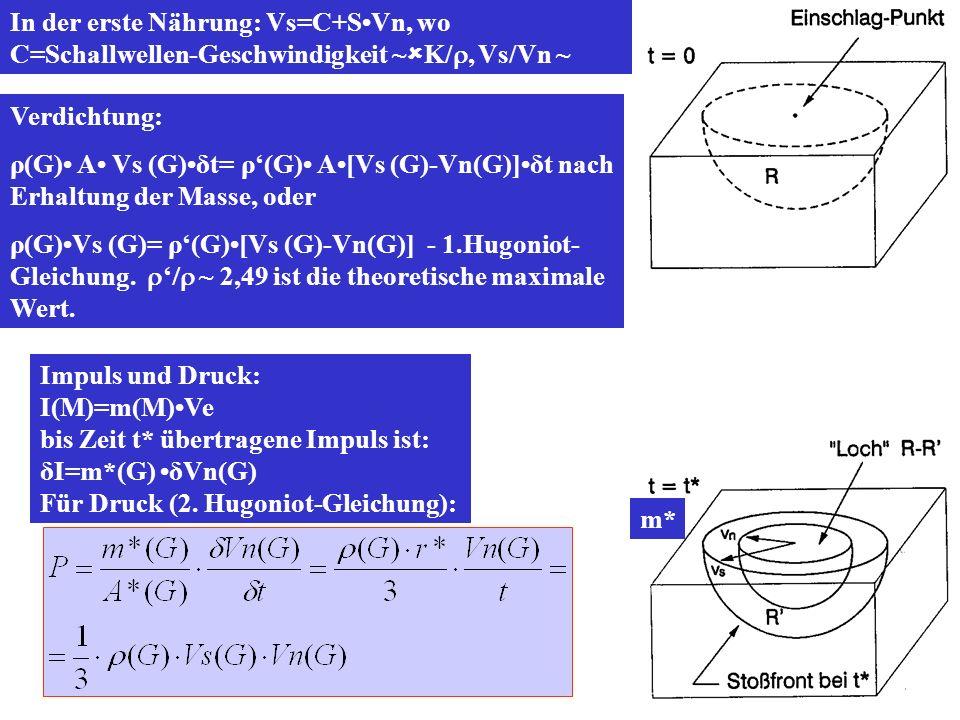 In der erste Nährung: Vs=C+S•Vn, wo C=Schallwellen-Geschwindigkeit ~K/, Vs/Vn ~ 1.67