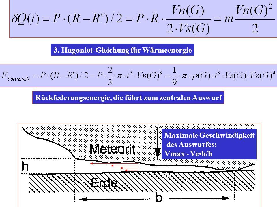 3. Hugoniot-Gleichung für Wärmeenergie