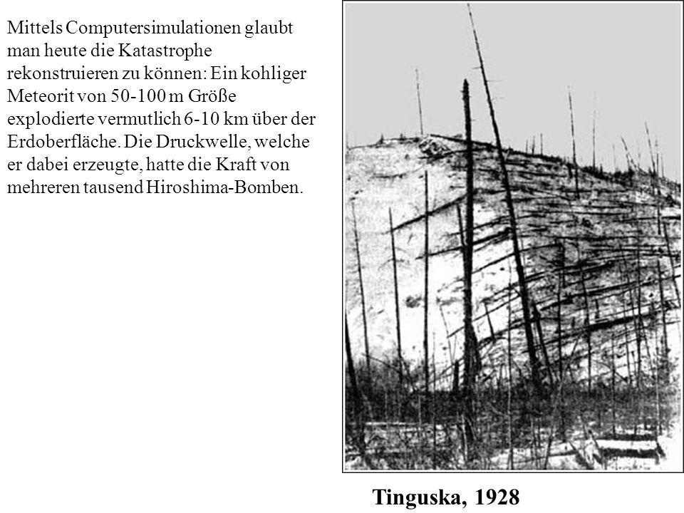 Mittels Computersimulationen glaubt man heute die Katastrophe rekonstruieren zu können: Ein kohliger Meteorit von 50-100 m Größe explodierte vermutlich 6-10 km über der Erdoberfläche. Die Druckwelle, welche er dabei erzeugte, hatte die Kraft von mehreren tausend Hiroshima-Bomben.