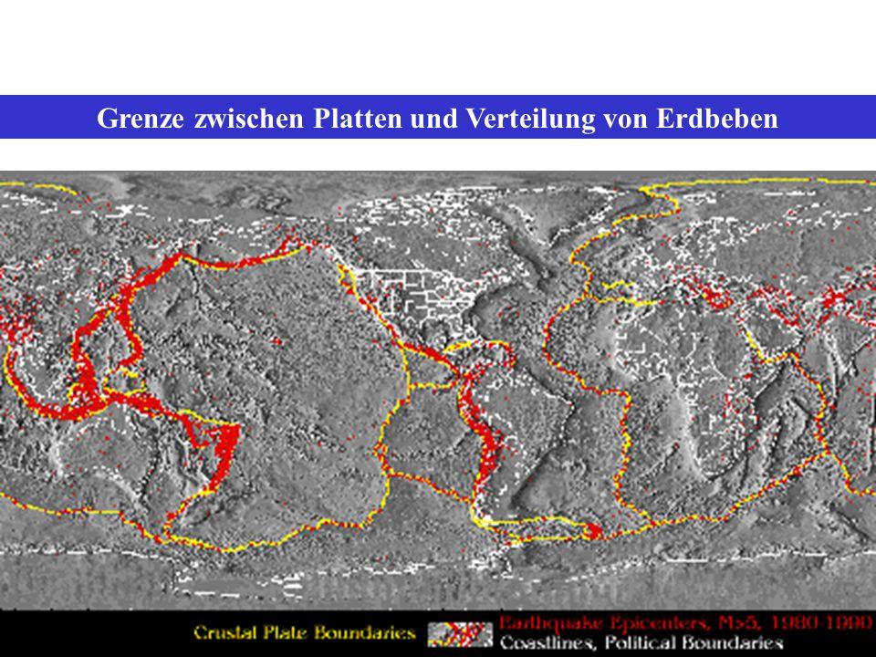 Grenze zwischen Platten und Verteilung von Erdbeben