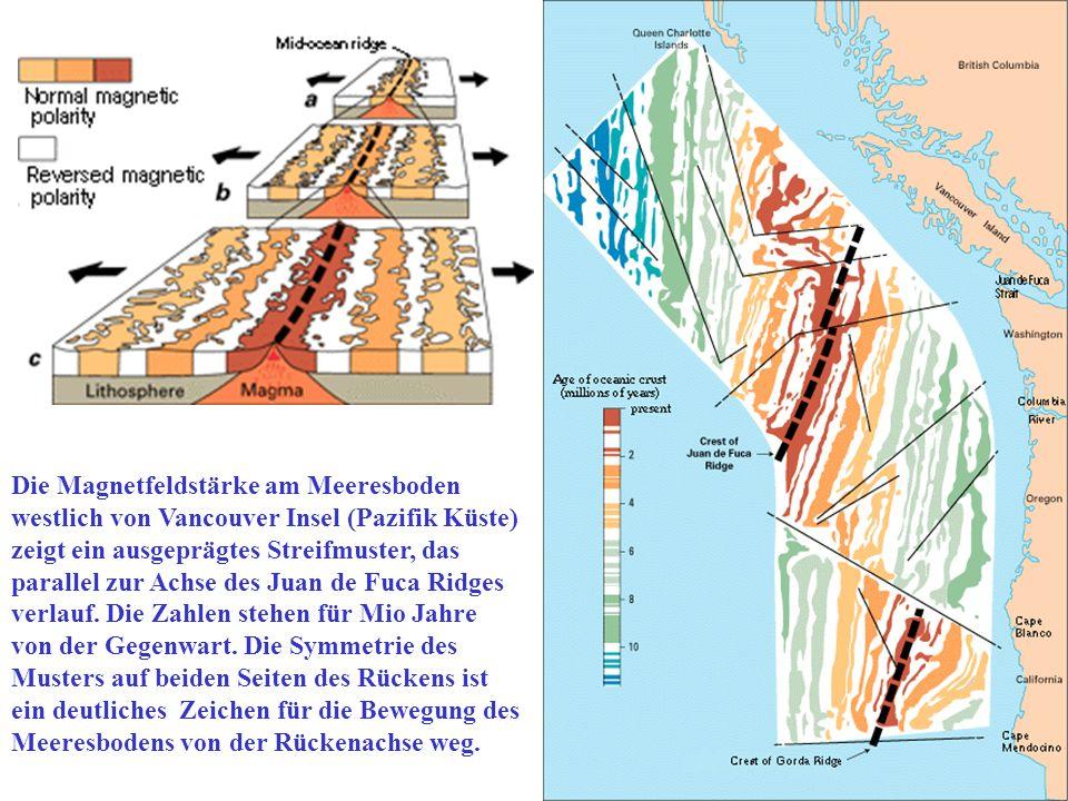 Die Magnetfeldstärke am Meeresboden westlich von Vancouver Insel (Pazifik Küste) zeigt ein ausgeprägtes Streifmuster, das parallel zur Achse des Juan de Fuca Ridges verlauf.