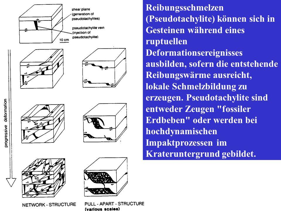 Reibungsschmelzen (Pseudotachylite) können sich in Gesteinen während eines ruptuellen Deformationsereignisses ausbilden, sofern die entstehende Reibungswärme ausreicht, lokale Schmelzbildung zu erzeugen.