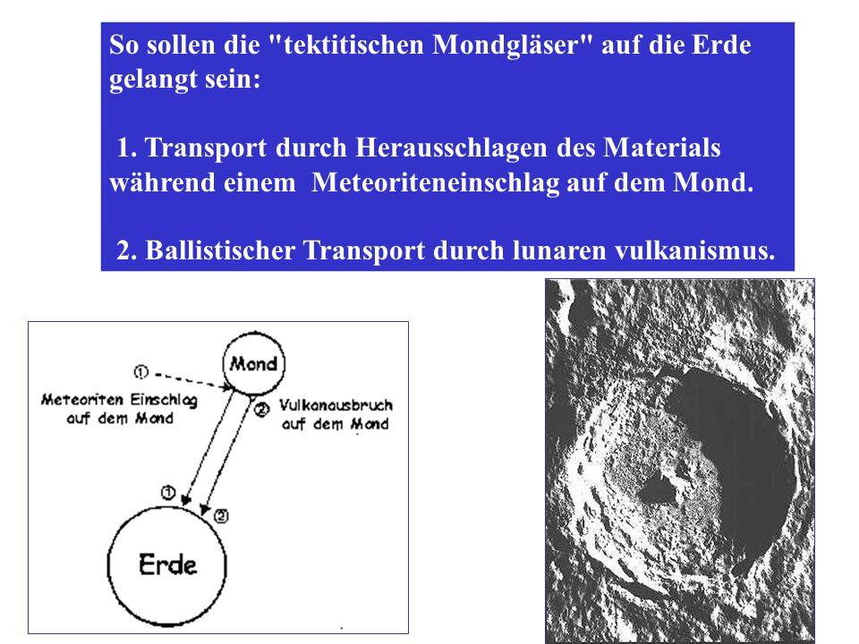 So sollen die tektitischen Mondgläser auf die Erde gelangt sein: