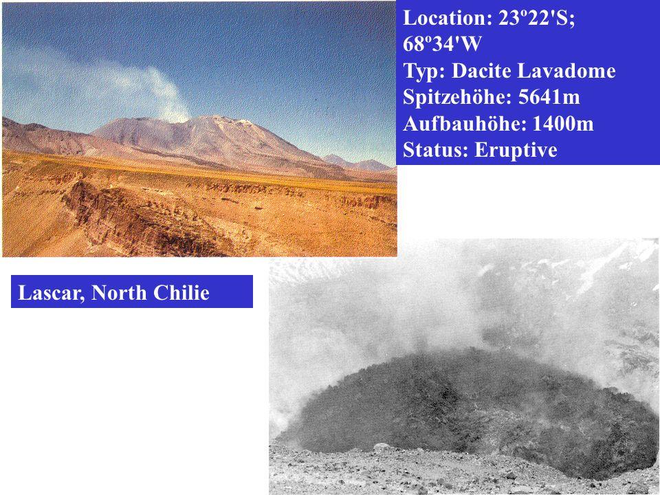 Location: 23º22 S; 68º34 W Typ: Dacite Lavadome. Spitzehöhe: 5641m. Aufbauhöhe: 1400m. Status: Eruptive.