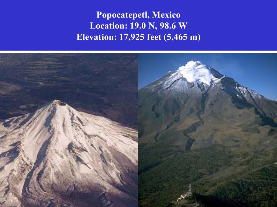 Popocatepetl, Mexico Location: 19. 0 N, 98