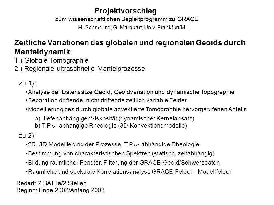 Projektvorschlag zum wissenschaftlichen Begleitprogramm zu GRACE. H. Schmeling, G. Marquart, Univ. Frankfurt/M.