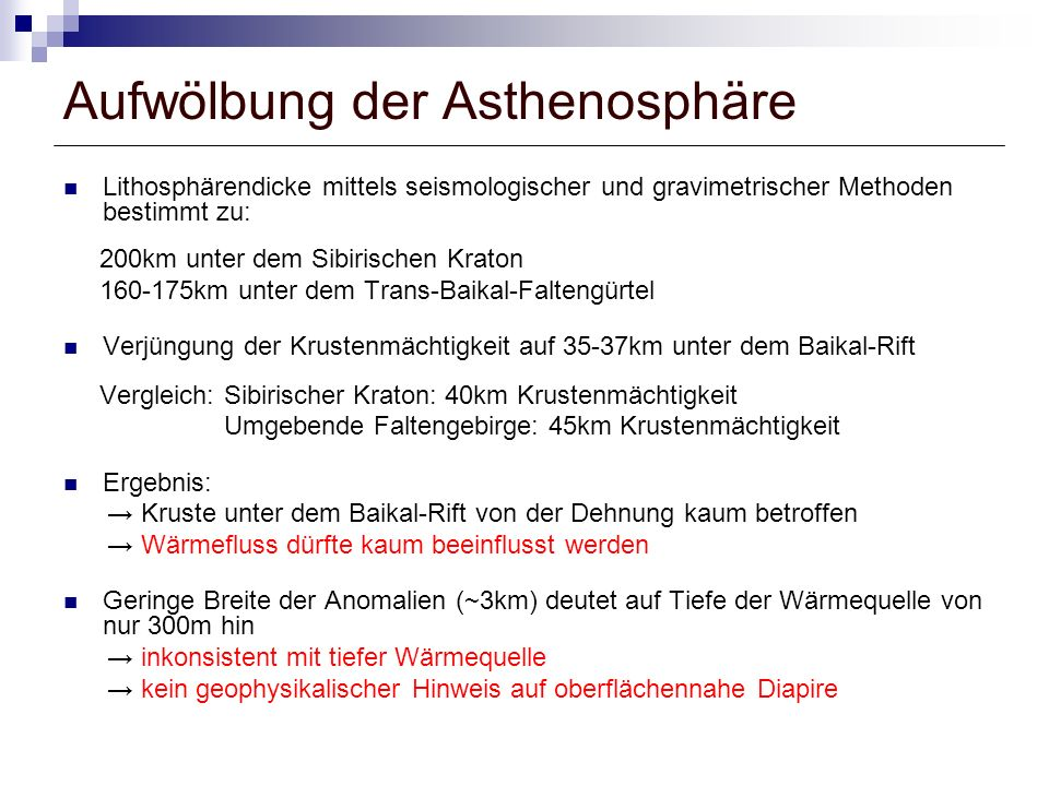 Aufwölbung der Asthenosphäre