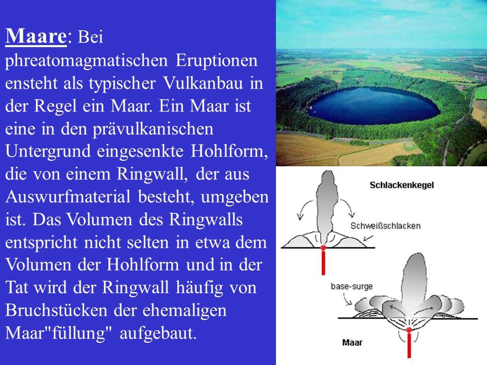 Maare: Bei phreatomagmatischen Eruptionen ensteht als typischer Vulkanbau in der Regel ein Maar.