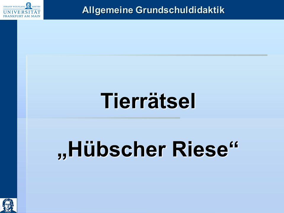 """Allgemeine Grundschuldidaktik Tierrätsel """"Hübscher Riese"""