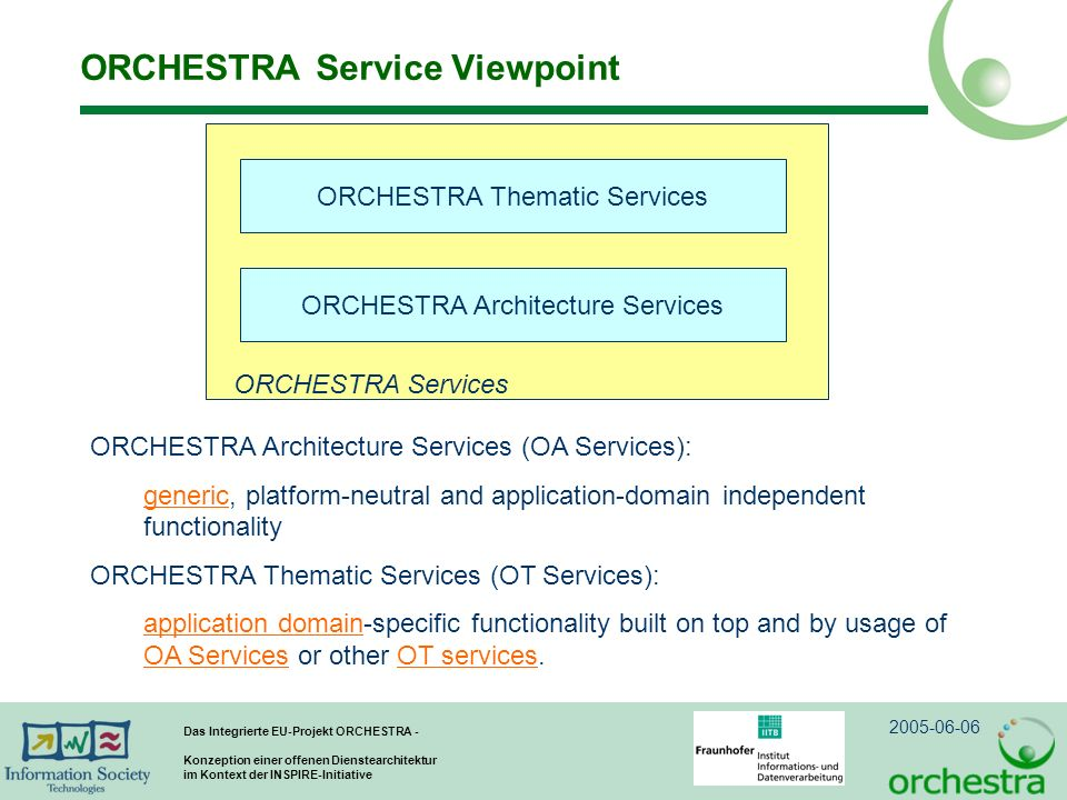 ORCHESTRA Service Viewpoint