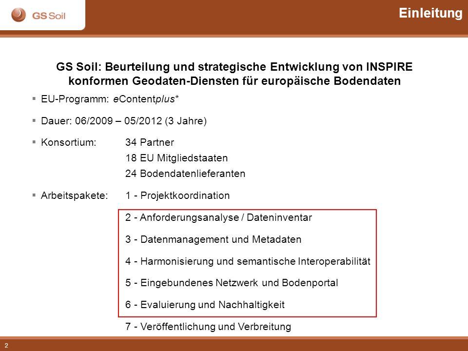 Einleitung GS Soil: Beurteilung und strategische Entwicklung von INSPIRE. konformen Geodaten-Diensten für europäische Bodendaten.