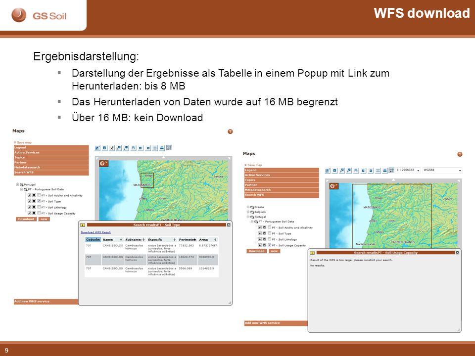 WFS download Ergebnisdarstellung: