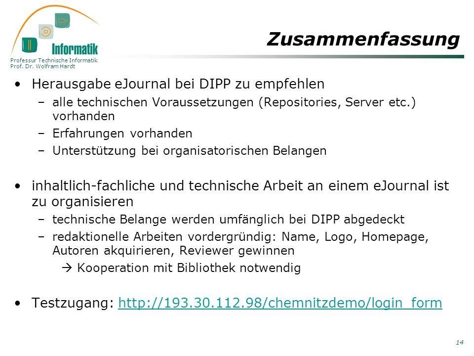 Zusammenfassung Herausgabe eJournal bei DIPP zu empfehlen