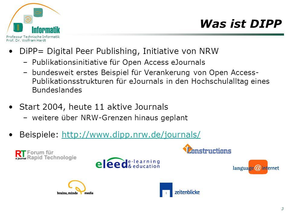 Was ist DIPP DiPP= Digital Peer Publishing, Initiative von NRW