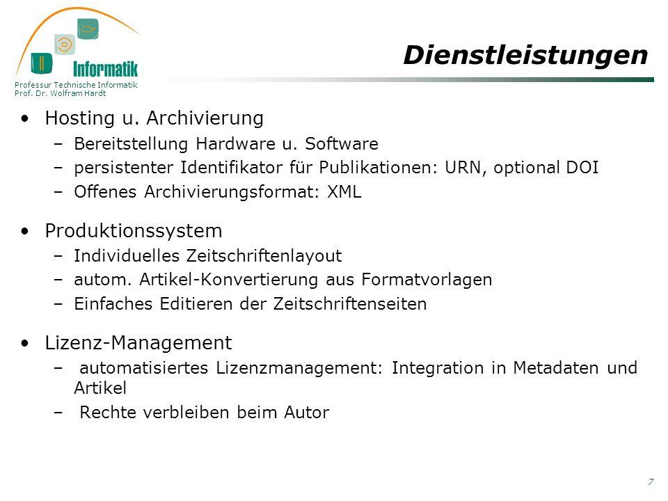 Dienstleistungen Hosting u. Archivierung Produktionssystem