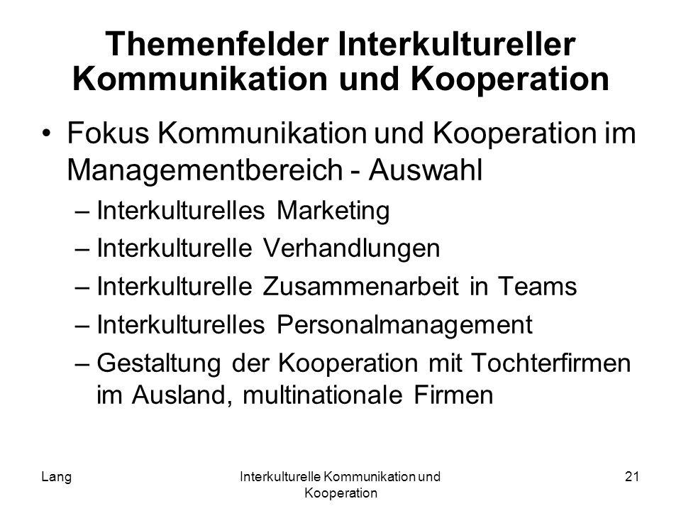 Themenfelder Interkultureller Kommunikation und Kooperation