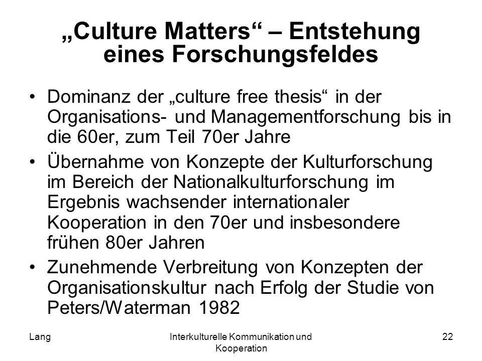 """Culture Matters – Entstehung eines Forschungsfeldes"