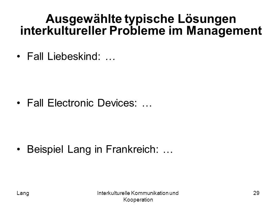 Ausgewählte typische Lösungen interkultureller Probleme im Management