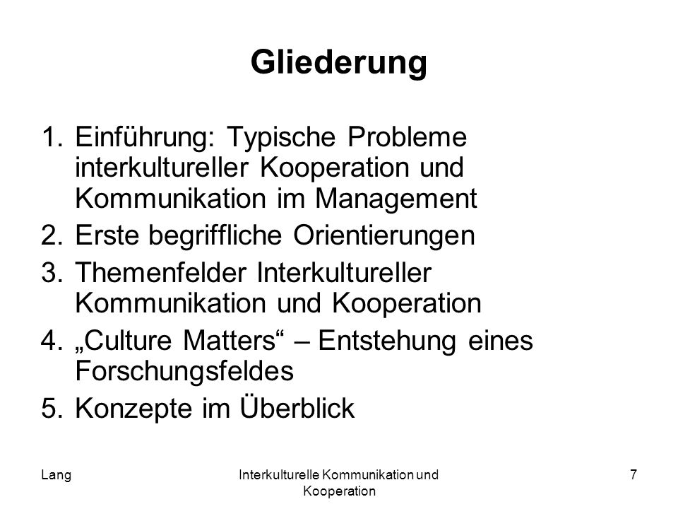 Interkulturelle Kommunikation und Kooperation