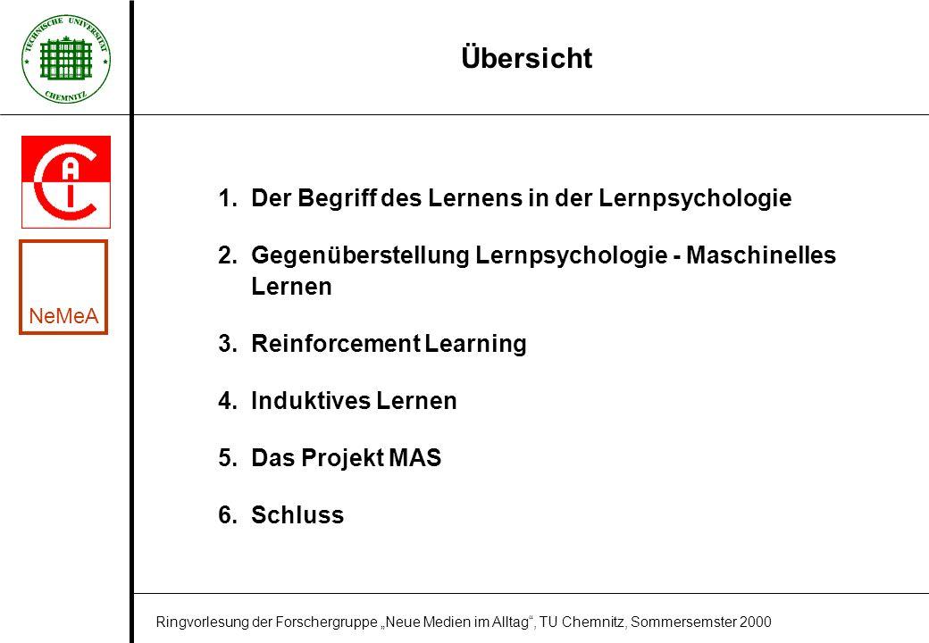 Übersicht 1. Der Begriff des Lernens in der Lernpsychologie