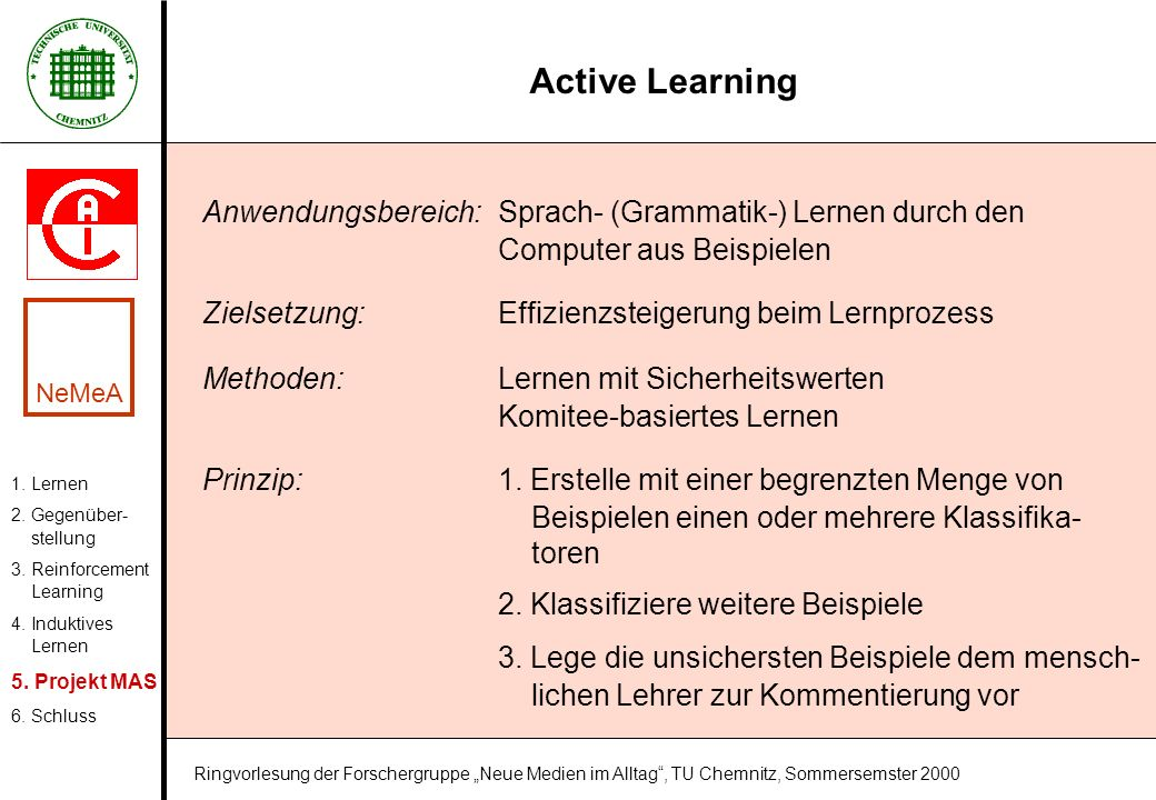 Active Learning Anwendungsbereich: