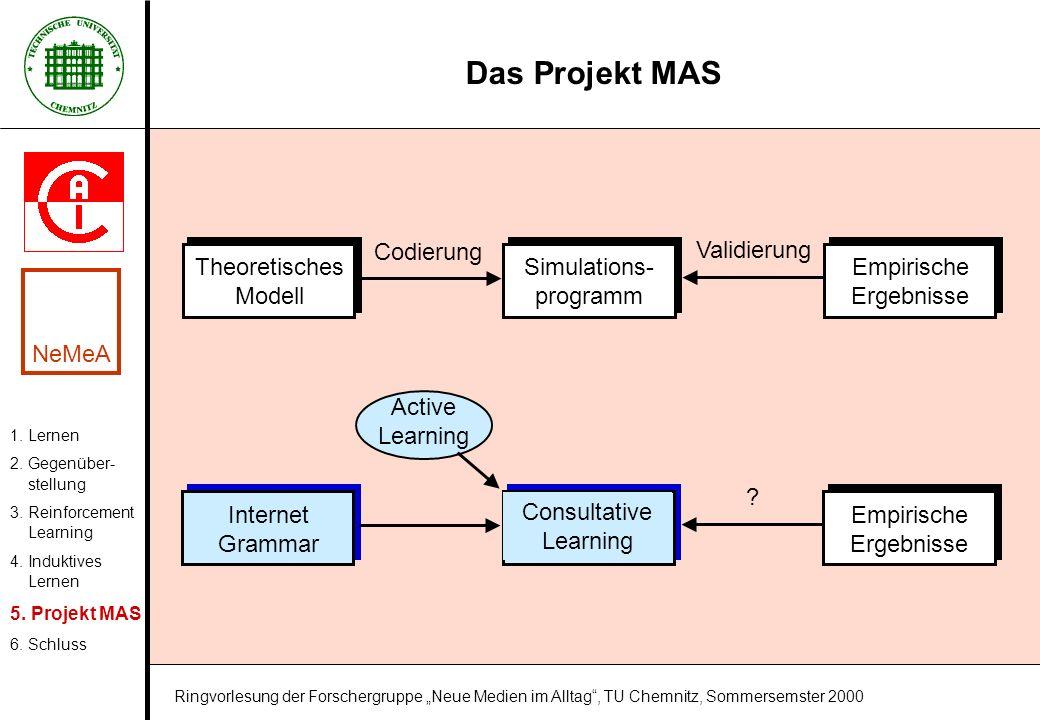 Das Projekt MAS Theoretisches Modell Codierung Validierung