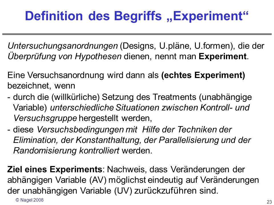 "Definition des Begriffs ""Experiment"
