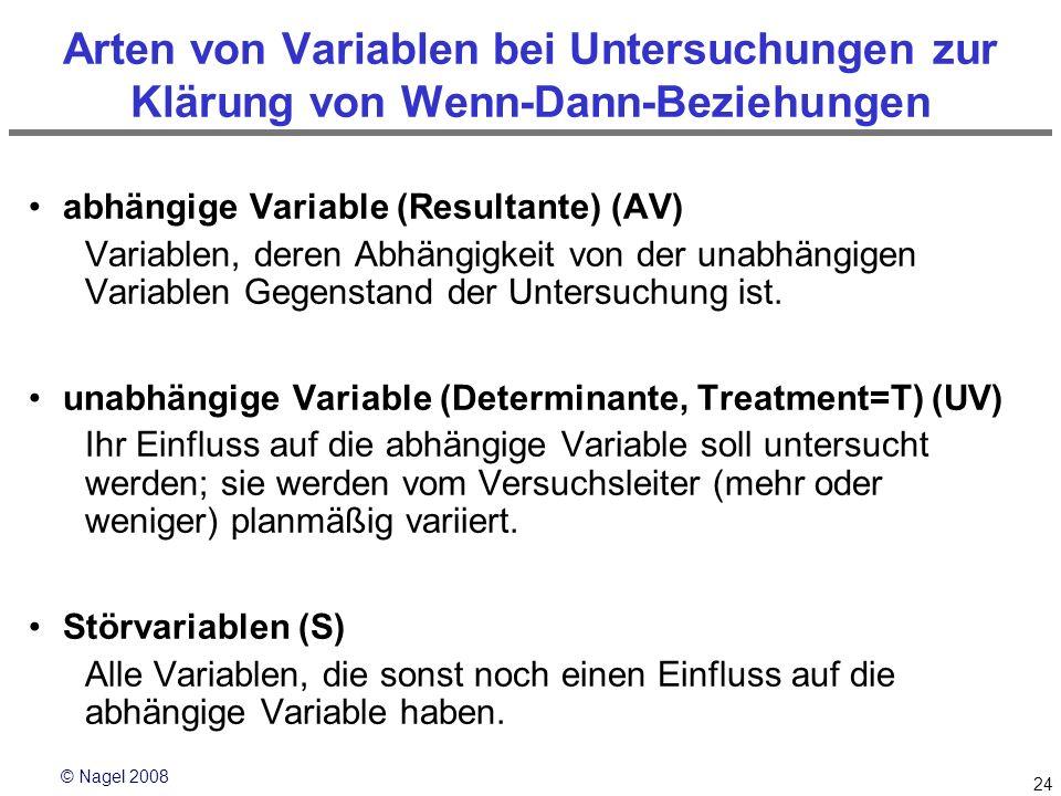 Arten von Variablen bei Untersuchungen zur Klärung von Wenn-Dann-Beziehungen