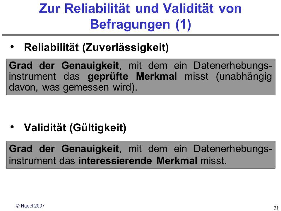 Zur Reliabilität und Validität von Befragungen (1)