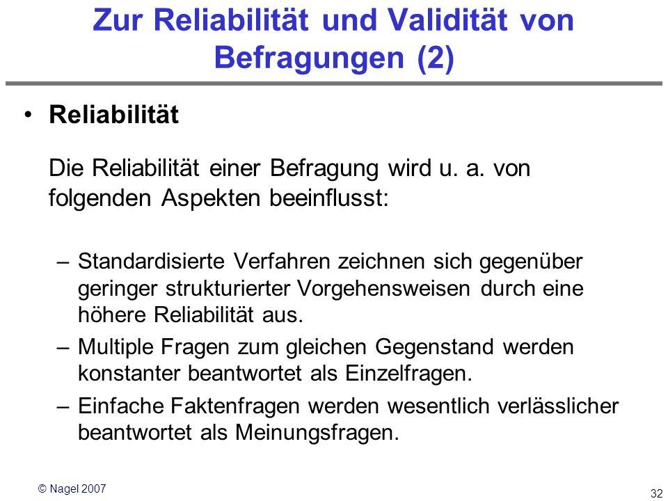 Zur Reliabilität und Validität von Befragungen (2)