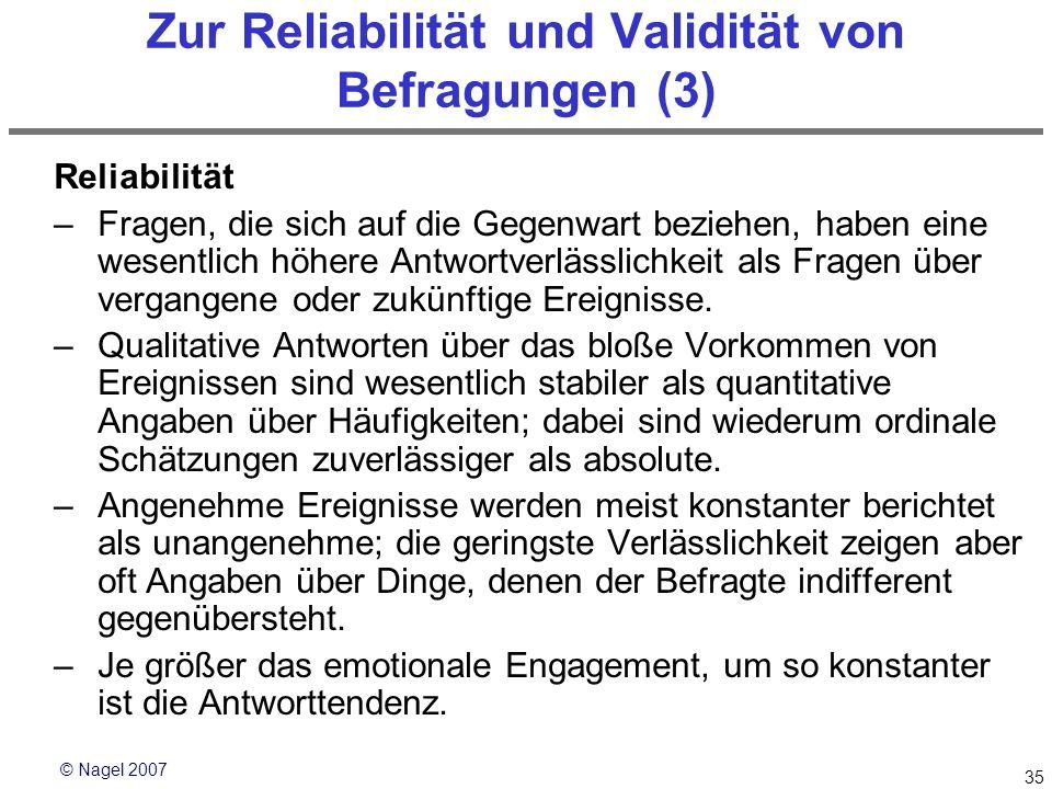 Zur Reliabilität und Validität von Befragungen (3)
