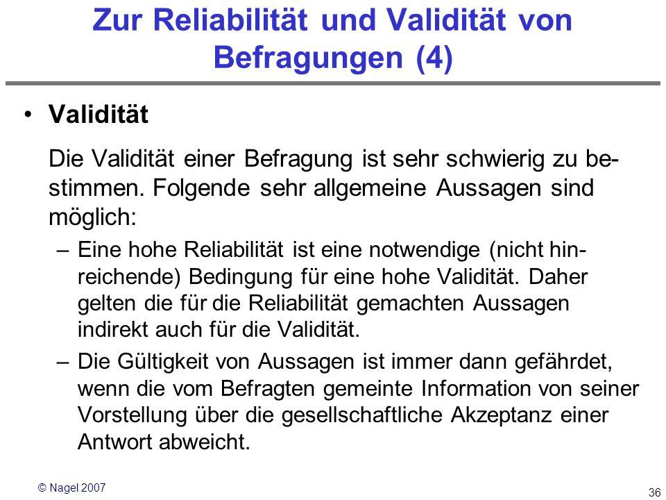 Zur Reliabilität und Validität von Befragungen (4)