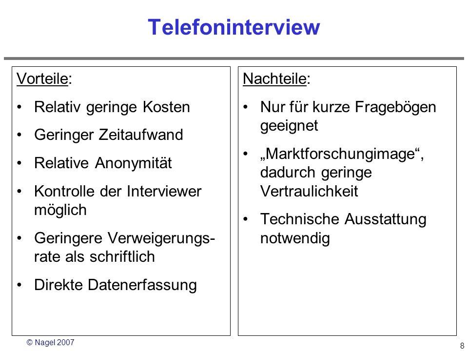 Telefoninterview Vorteile: Relativ geringe Kosten Geringer Zeitaufwand