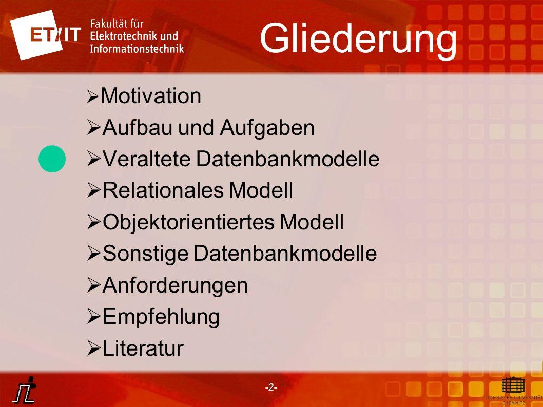 Gliederung Aufbau und Aufgaben Veraltete Datenbankmodelle