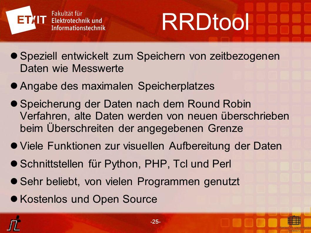 RRDtoolSpeziell entwickelt zum Speichern von zeitbezogenen Daten wie Messwerte. Angabe des maximalen Speicherplatzes.