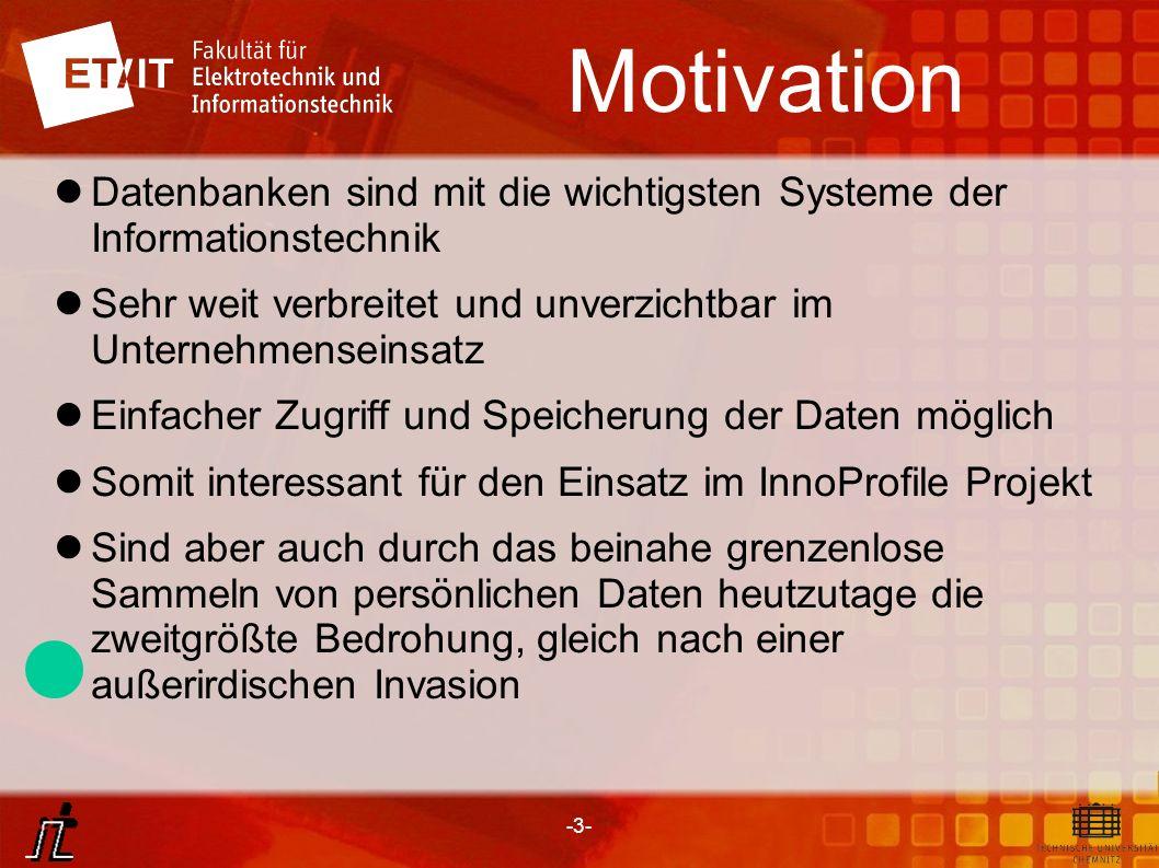 Motivation Datenbanken sind mit die wichtigsten Systeme der Informationstechnik. Sehr weit verbreitet und unverzichtbar im Unternehmenseinsatz.