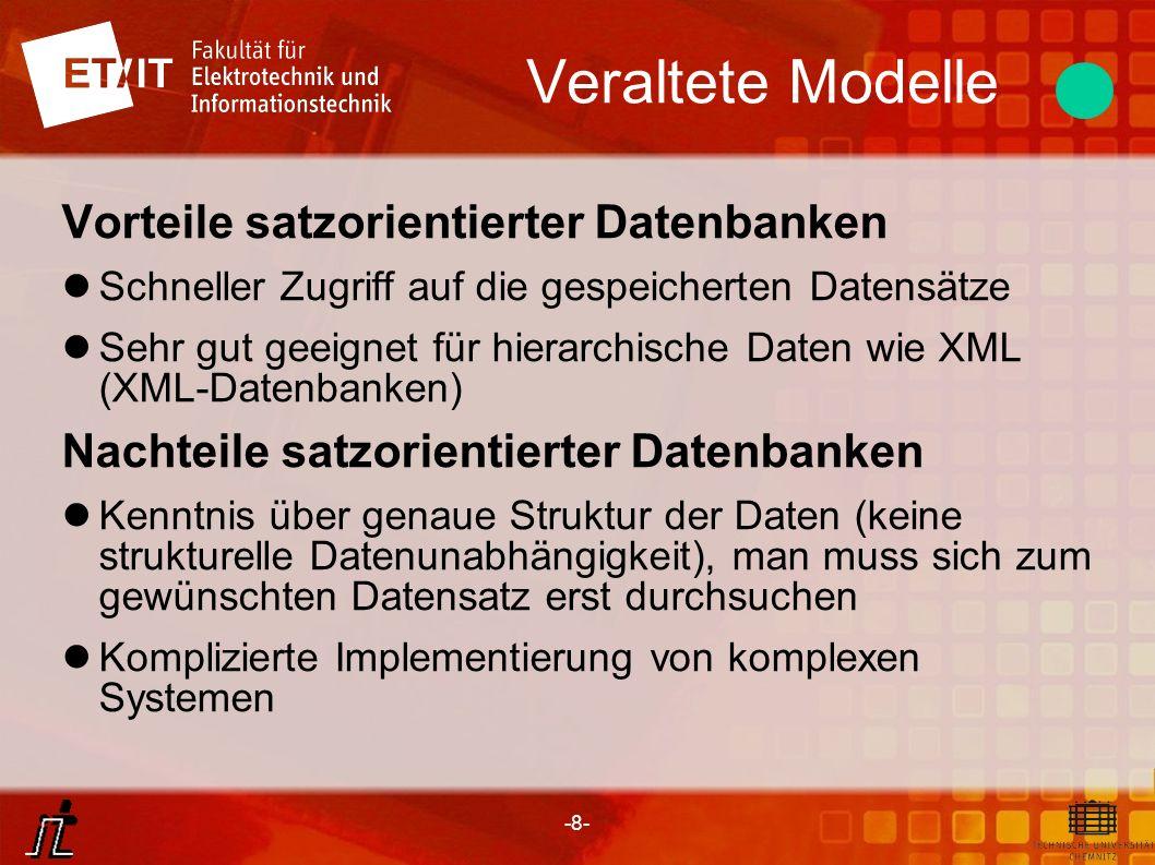Veraltete Modelle Vorteile satzorientierter Datenbanken
